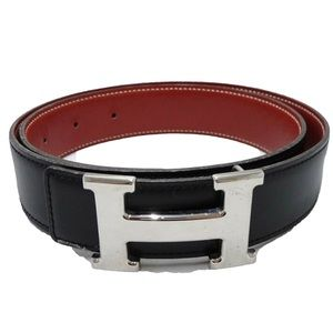 HERMES H Constance Black Red Reversible Silver